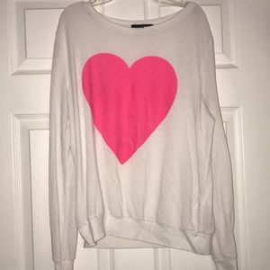 Forever 21 white long sleeve w/ pink heart (M)
